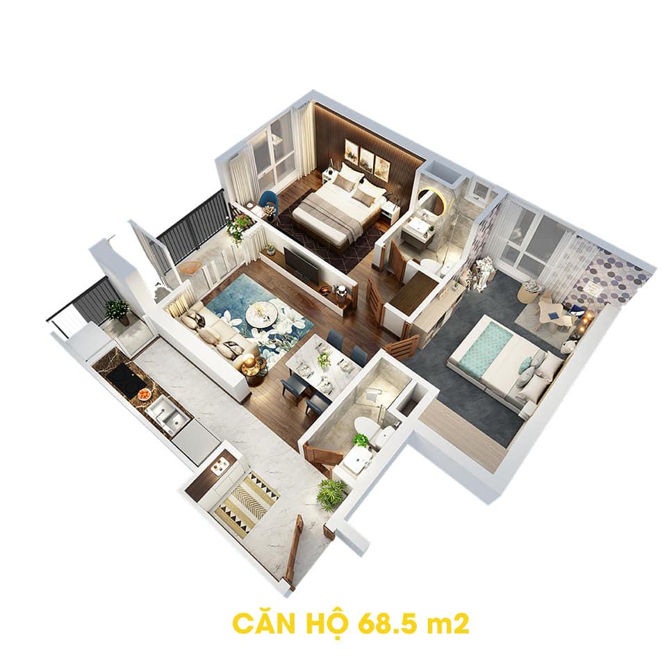 Phối cảnh 3D bóc mái căn hộ 68,5m2 Dự án the Tera An Hưng