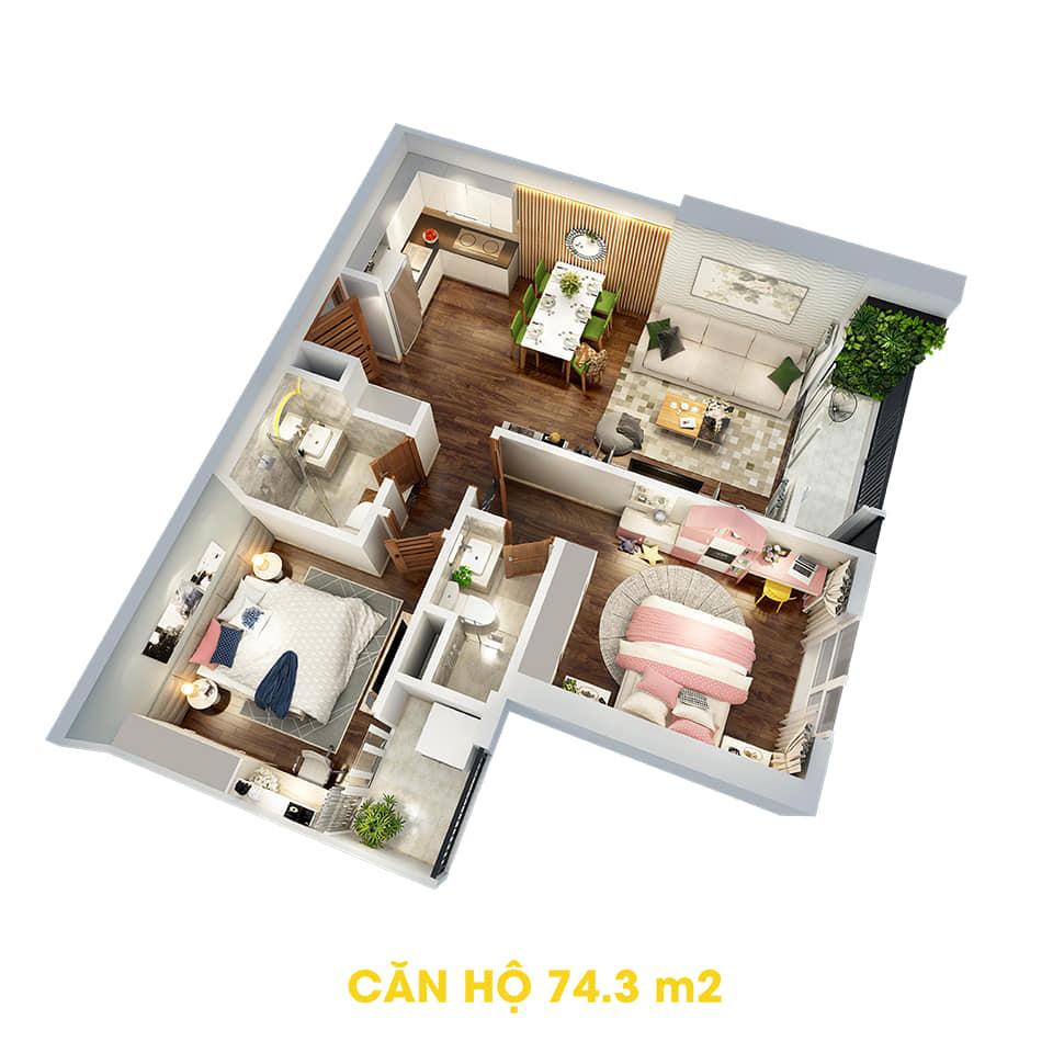 Phối cảnh 3D bóc mái căn hộ 74,3m2 Dự án the Tera An Hưng