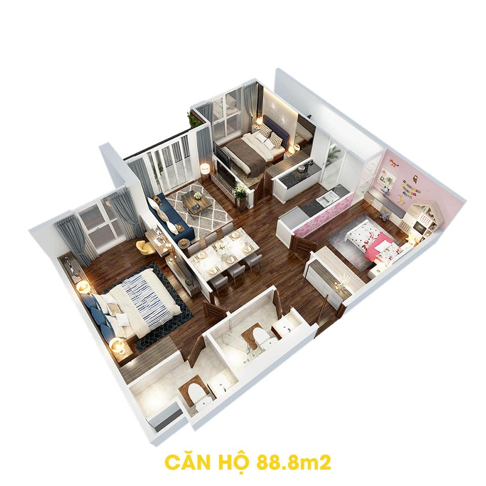 Phối cảnh 3D bóc mái căn hộ 88,8m2 Dự án the Tera An Hưng