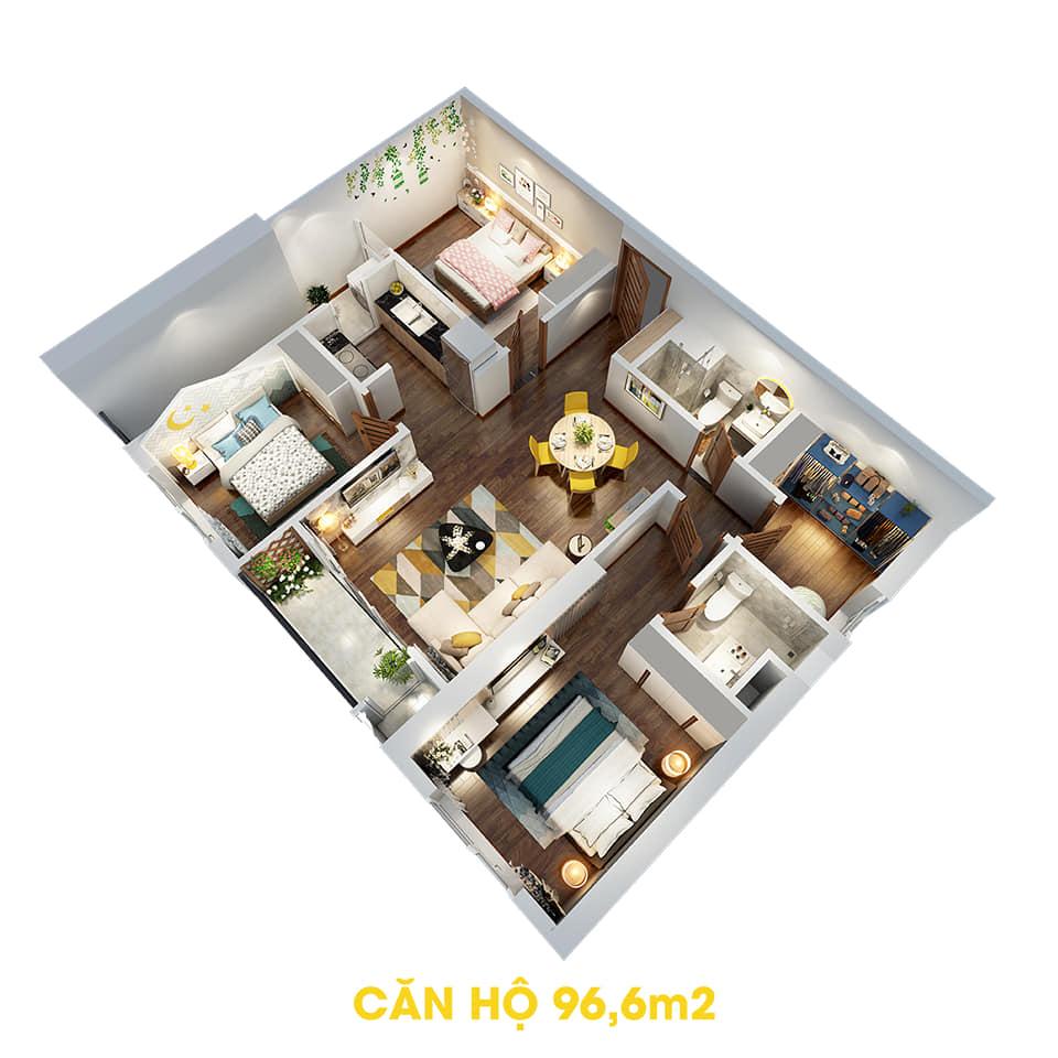 Phối cảnh 3D bóc mái căn hộ 96,6m2 Dự án the Tera An Hưng