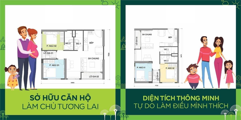 Vinhomes Ocean Park Gia Lâm căn 2 phòng ngủ + 1 + 2 vệ sinh