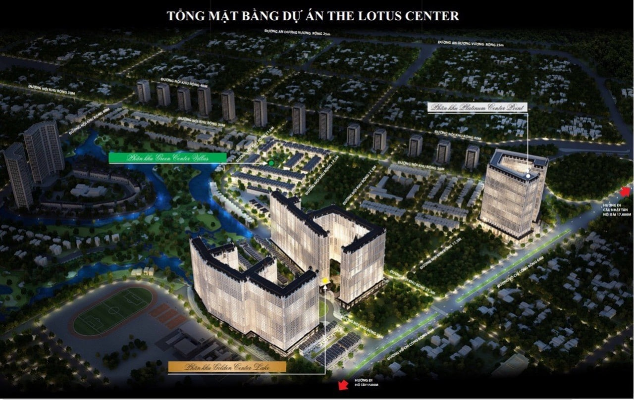 Officetel The Lotus Center ciputra của vimefulland về đêm