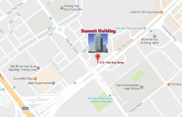 vị trí Dự án Summit Building 216 Trần Duy Hưng