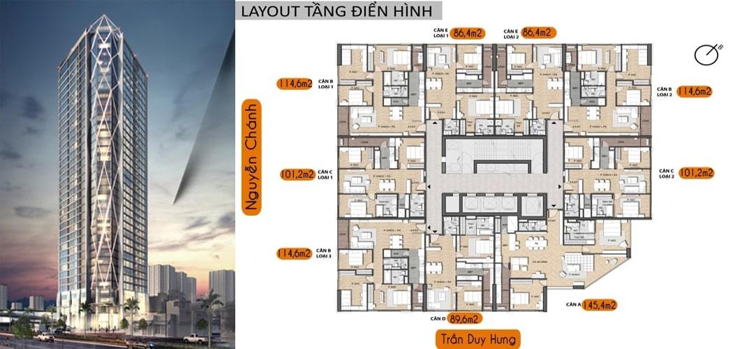 mặt bằng điển hình Dự án Summit Building 216 Trần Duy Hưng