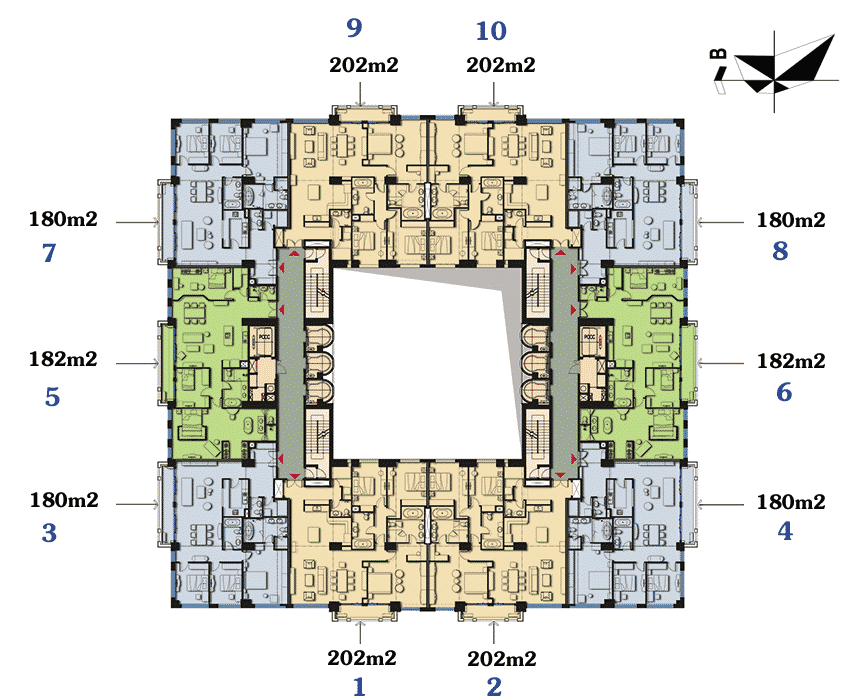 Mặt bằng điển hình D'Palais de Louis Tân Hoàng Minh tầng 5 đến 20