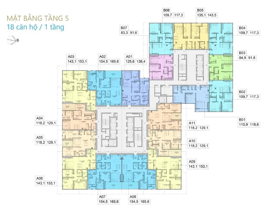 Mặt bằng Tầng 5 Dự án BID Residence