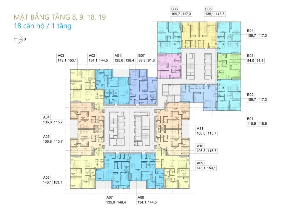 Thiết kế Chung cư BID Residence Văn Khê - Mặt bằng tầng 8,9,18,19