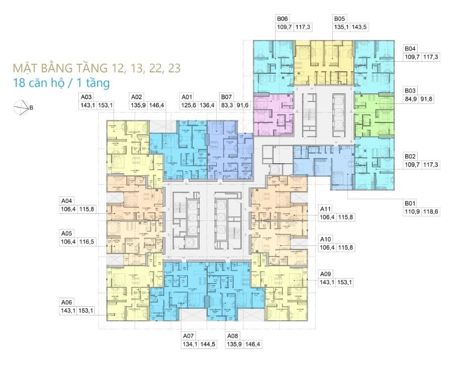 Thiết kế Chung cư BID Residence Văn Khê - Mặt bằng tầng 12,13,22,23