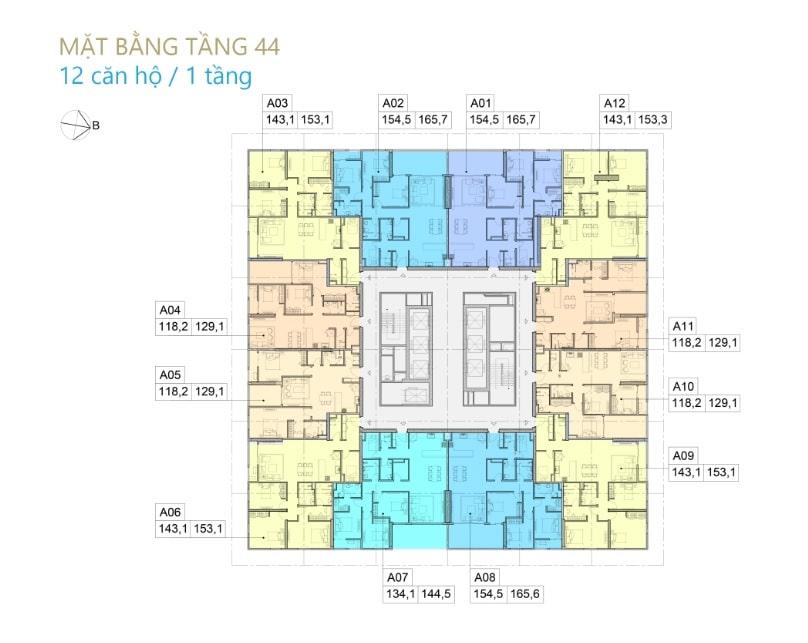 Thiết kế Chung cư BID Residence Văn Khê - Mặt bằng tầng 44