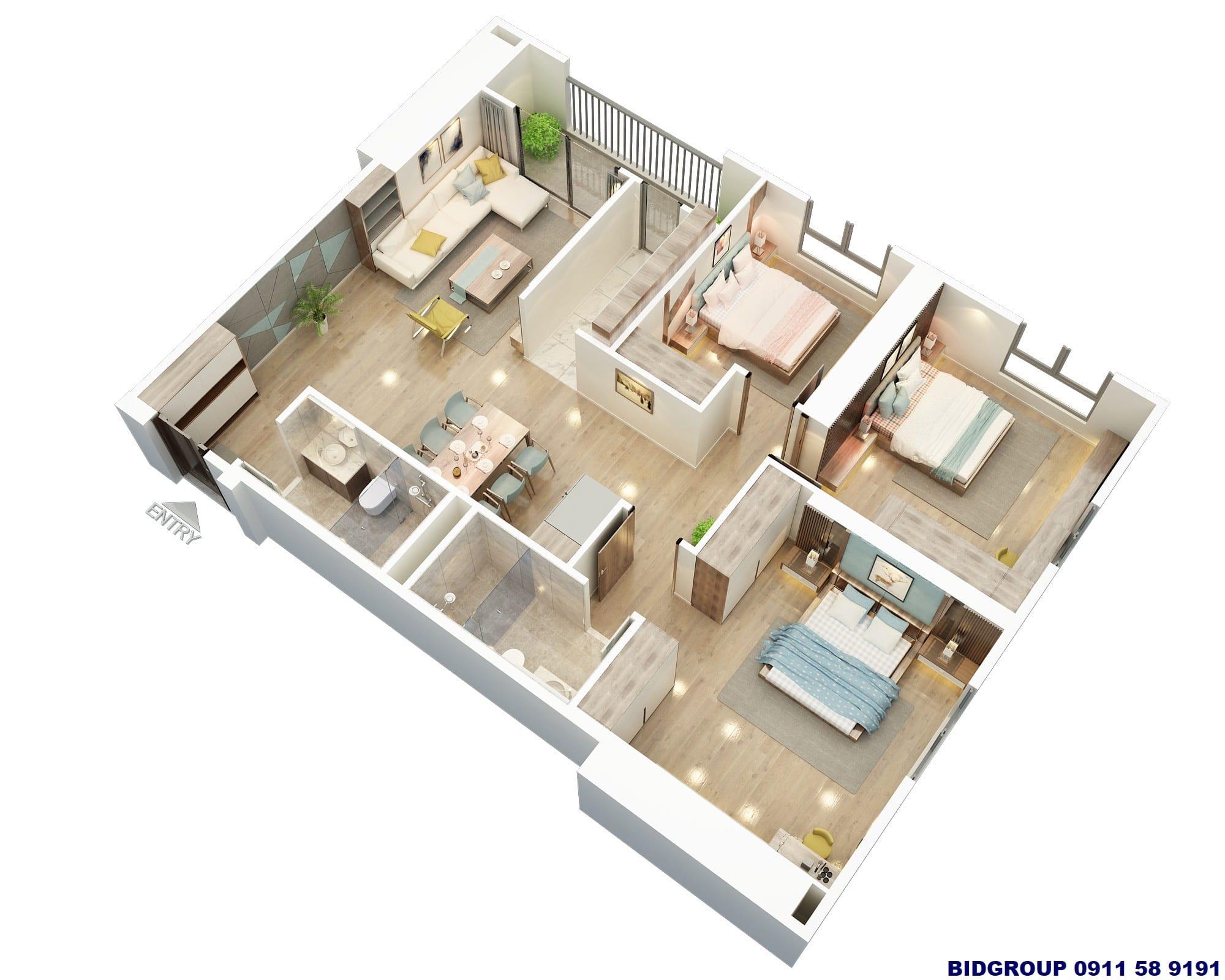 Phối cảnh căn hộ góc 3 phòng ngủ 107,9m2 Chung cư BID Residence (B03-B05-B08)