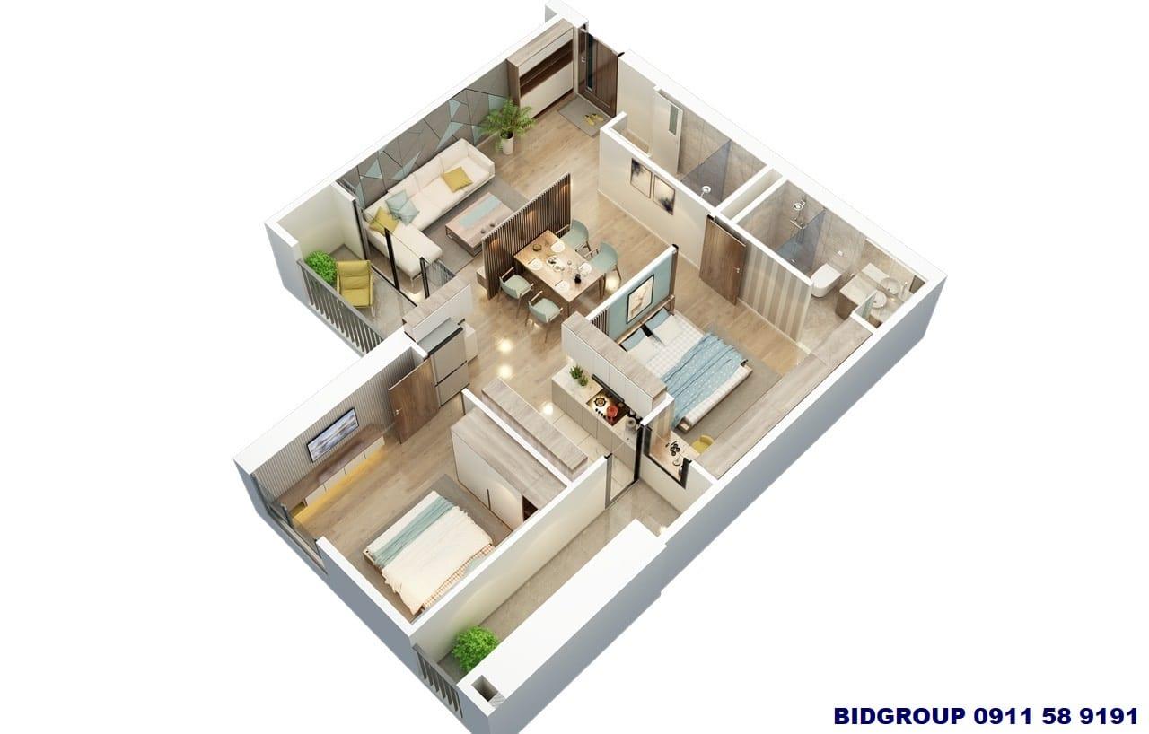 Phối cảnh căn hộ 2 phòng ngủ 75m2 Chung cư BID Residence