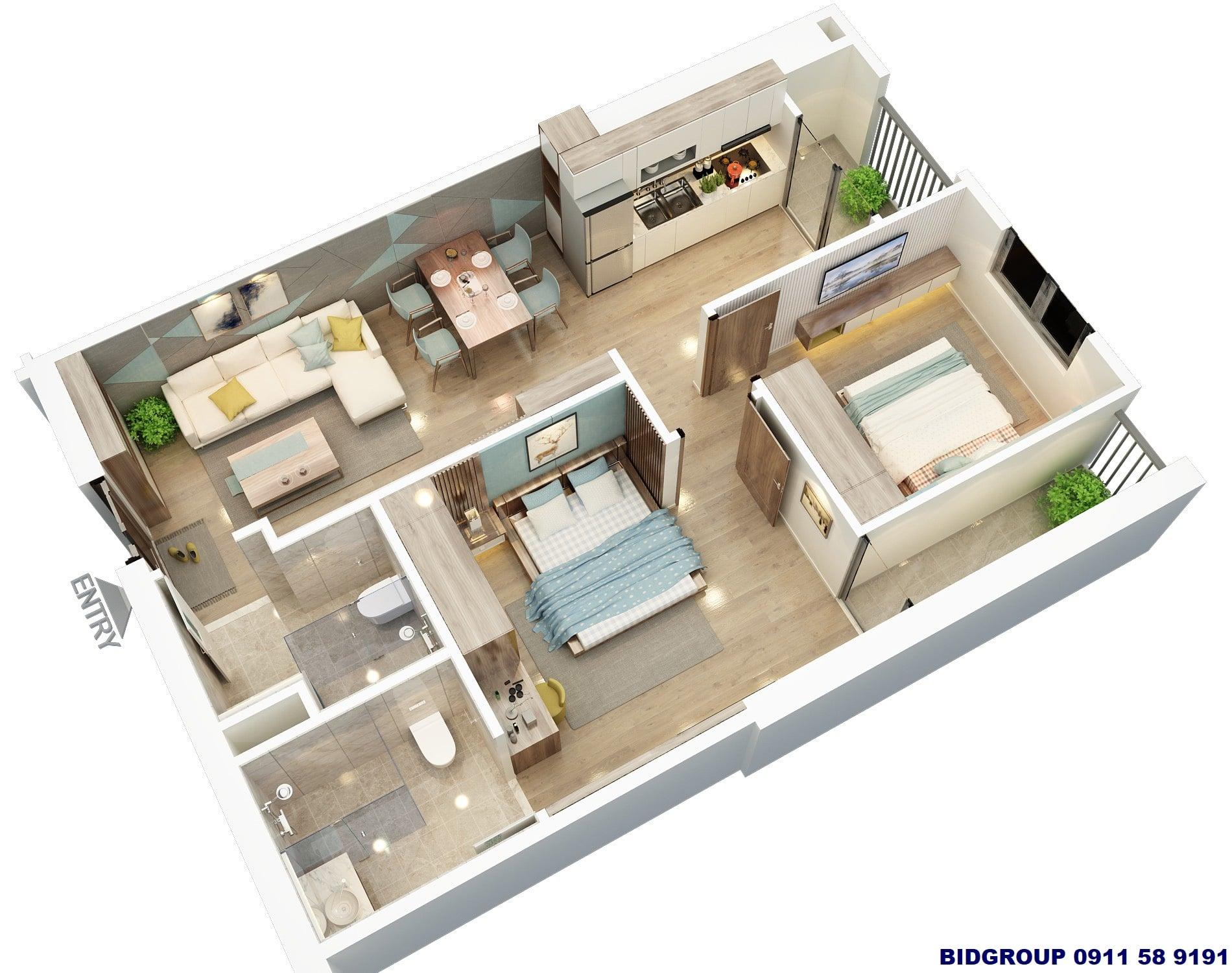 Phối cảnh căn hộ 2 phòng ngủ 64m2 Chung cư BID Residence