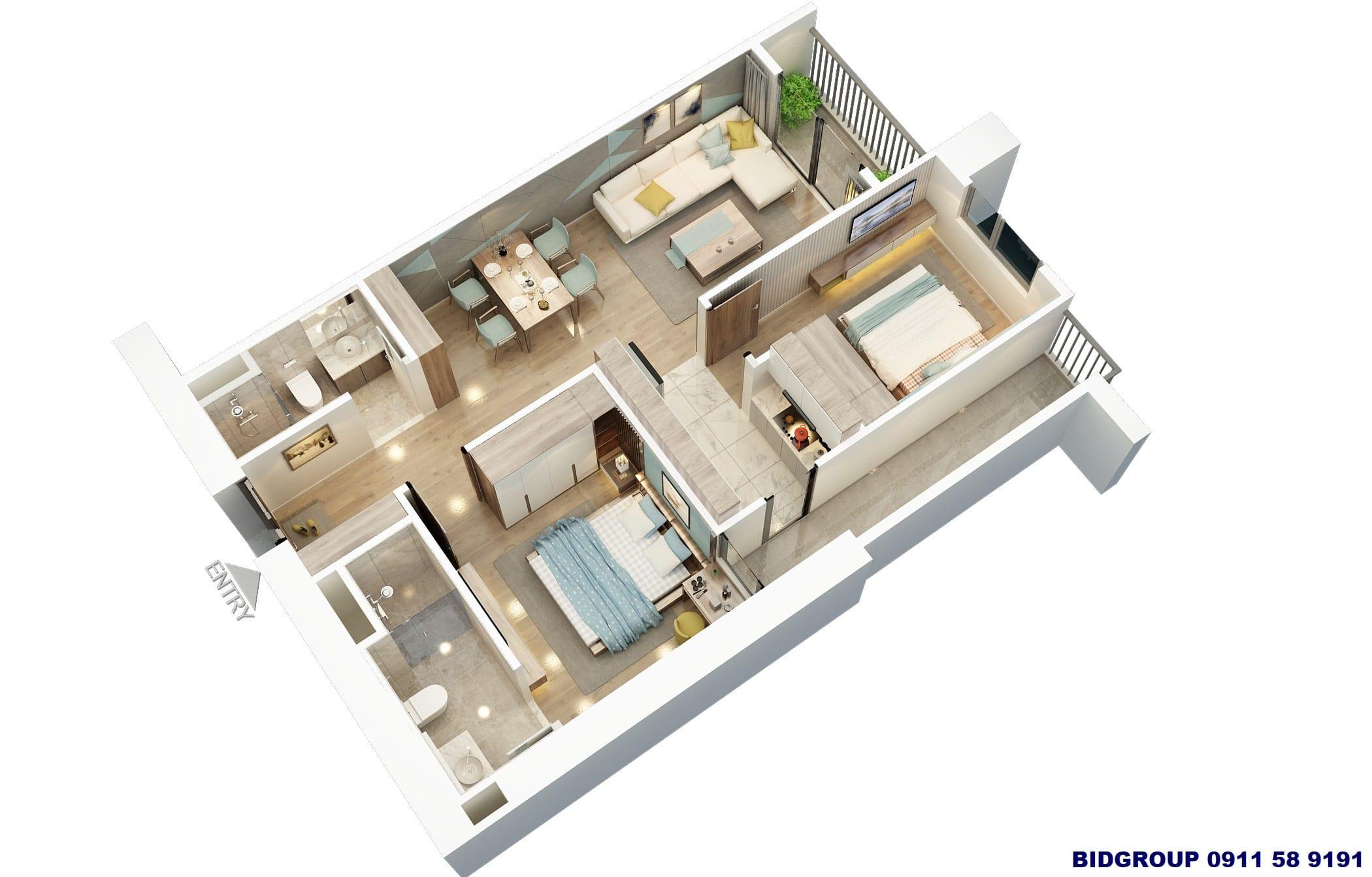 Phối cảnh căn hộ 2 phòng ngủ 62m2 Chung cư BID Residence Văn Khê