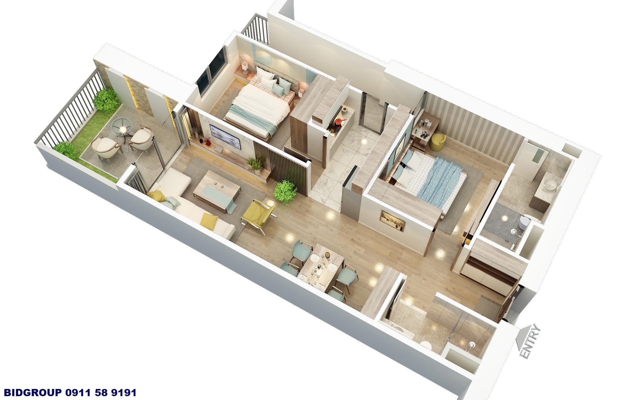 Phối cảnh căn hộ sân vườn 2 phòng ngủ 80,4m2 Chung cư BID Residence