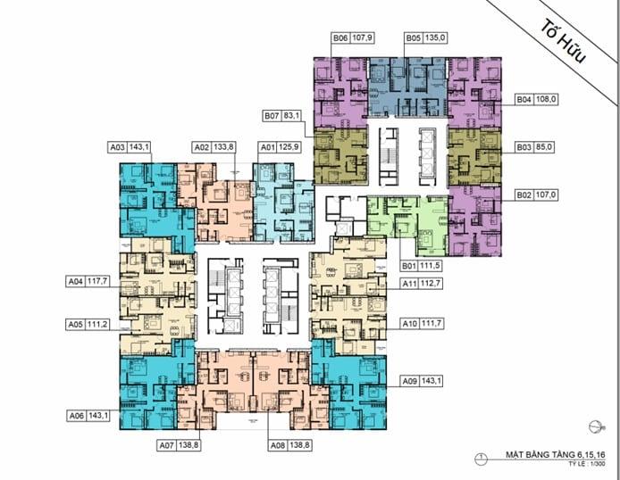 Mặt bằng BID Residence Tầng 06, 15, 16