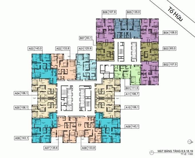 Mặt bằng BID Residence Tầng 08, 09, 18, 19