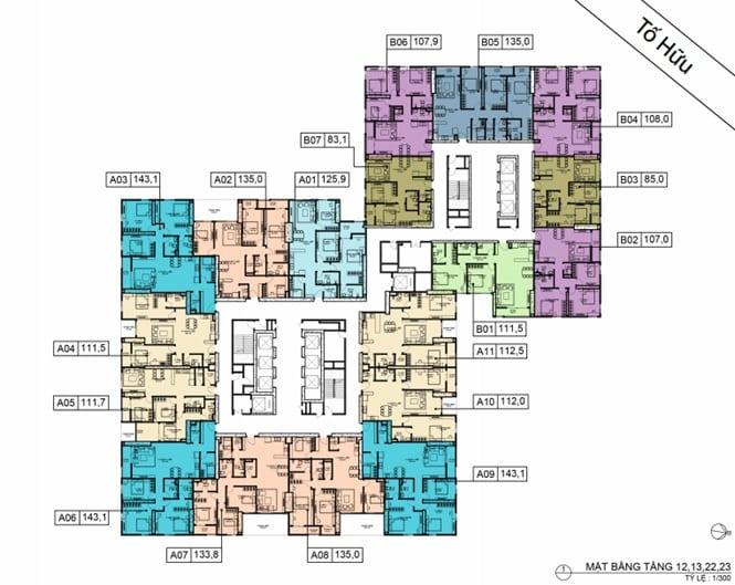 Mặt bằng BID Residence Tầng 12, 13, 22, 23