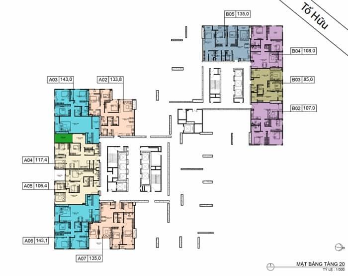Mặt bằng BID Residence Tầng 20 (có bố trí gian lánh nạn)