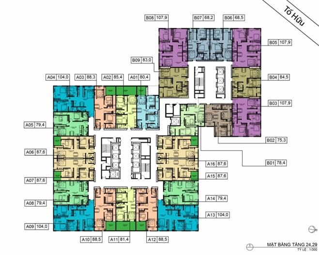 Mặt bằng BID Residence Tầng 24, 29