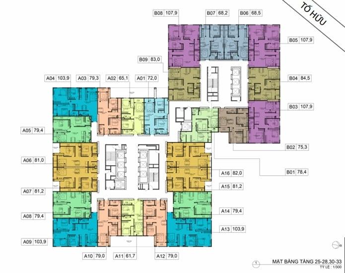Mặt bằng BID Residence Tầng 24-28, 30-33