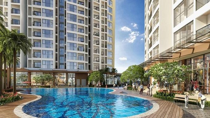 Bể bơi ngoài trời trong khuôn viên Dự án Chung cư Le Grand Jardin Sài Đồng