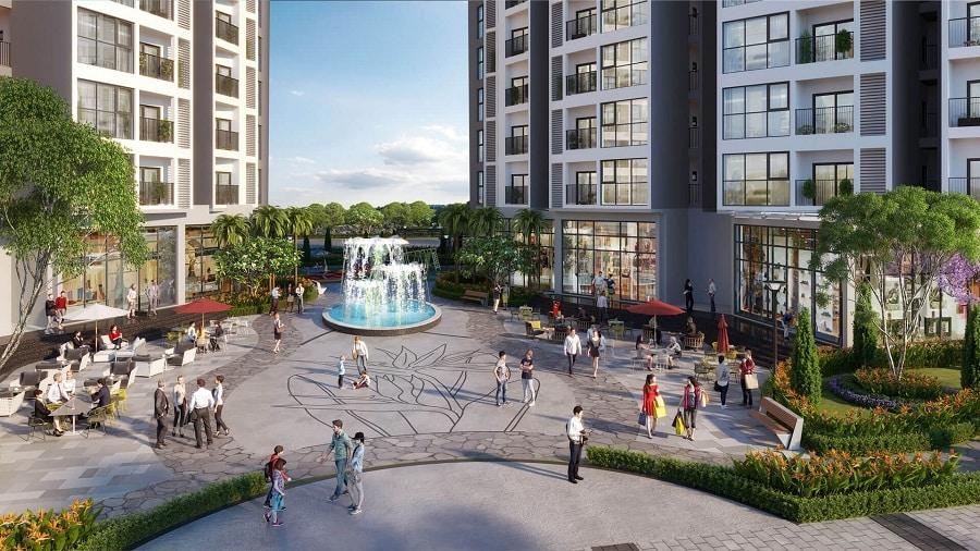 Đài phun nước phong thủy vượng khí trong khuôn viên Chung cư Le Grand Jardin