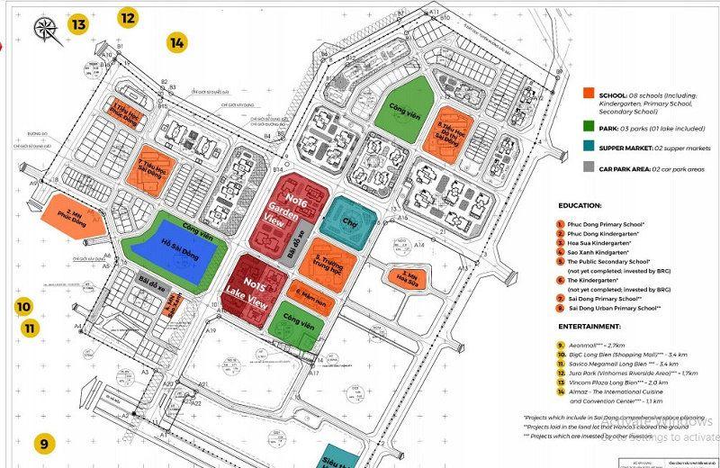 Master Plan cụm 9 tòa No 15 No 16 Dự án Le Grand Jardin Sài Đồng