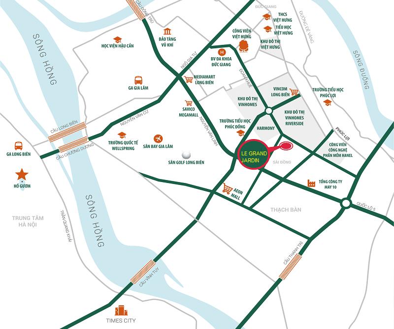 Tọa độ Vàng của Dự án Chung cư Le Grand Jardin Sài Đồng - Long Biên