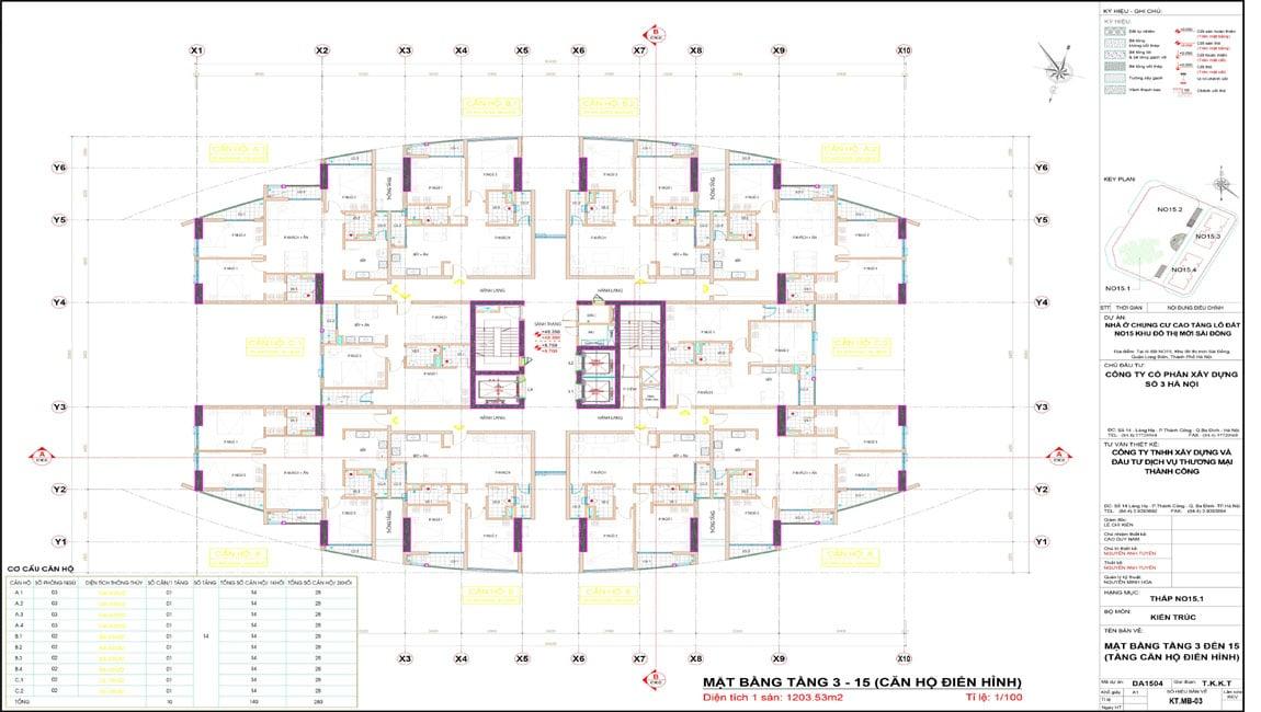 Mặt bằng điển hình tòa No15-1 Le Grand Jardin Sài Đồng