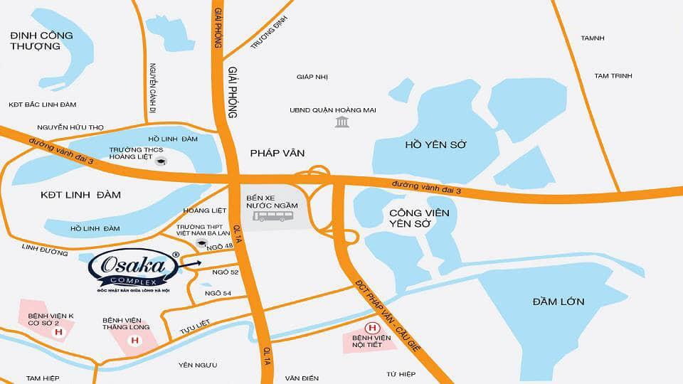 Chung cư Osaka Complex 48 Ngọc Hồi mở bán Tòa Osaka Skyline Complex vị trí dự án