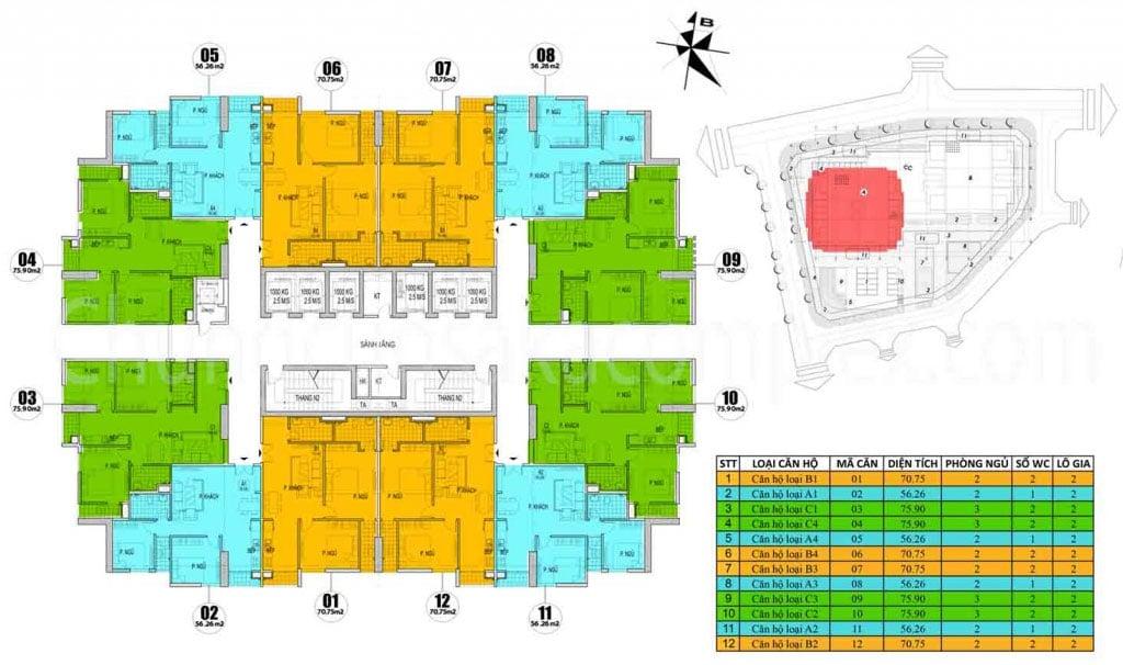 Chung cư Osaka Complex 48 Ngọc Hồi mở bán Tòa Osaka Skyline Complex tầng 8-20