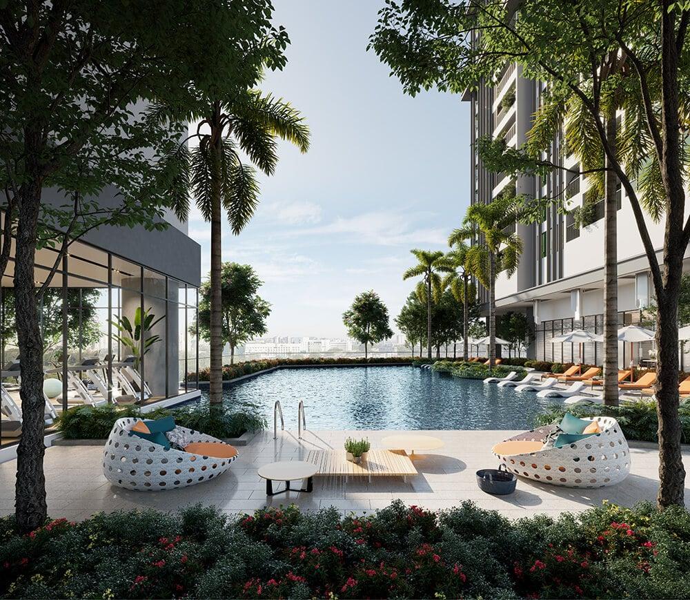 Dự án chung cư Park Kiara Park City bể bơi