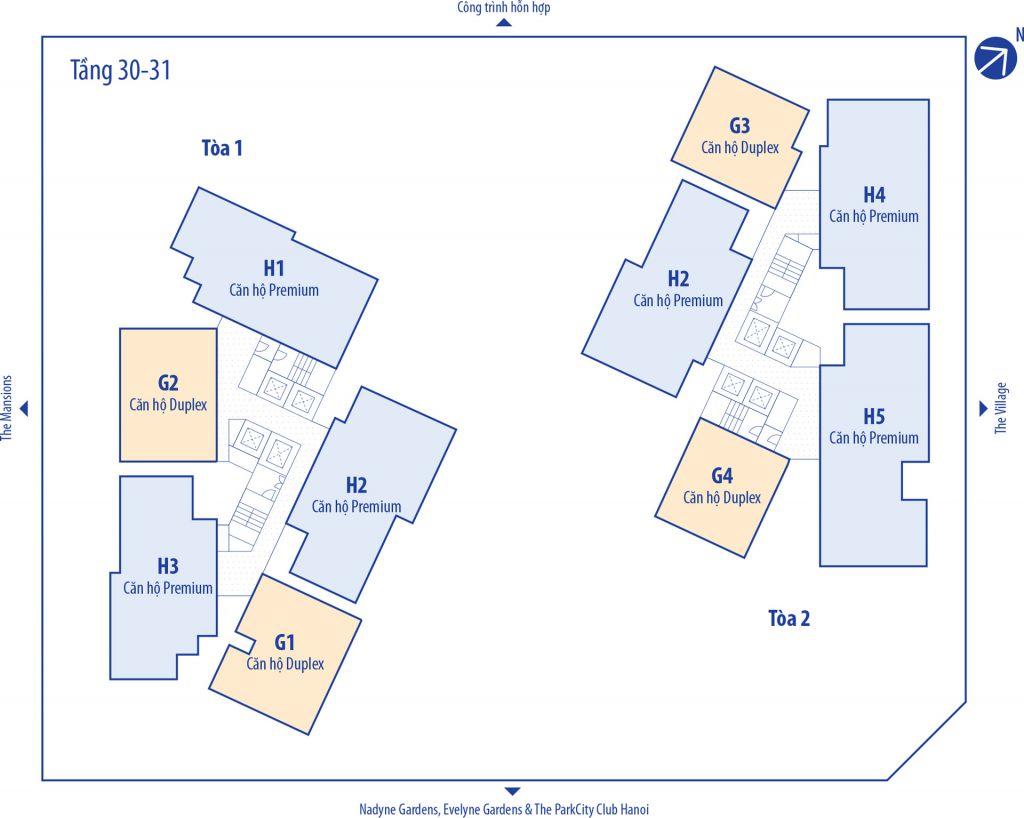 Mặt bằng Dự án chung cư Park Kiara Park City tầng 30 đến 31