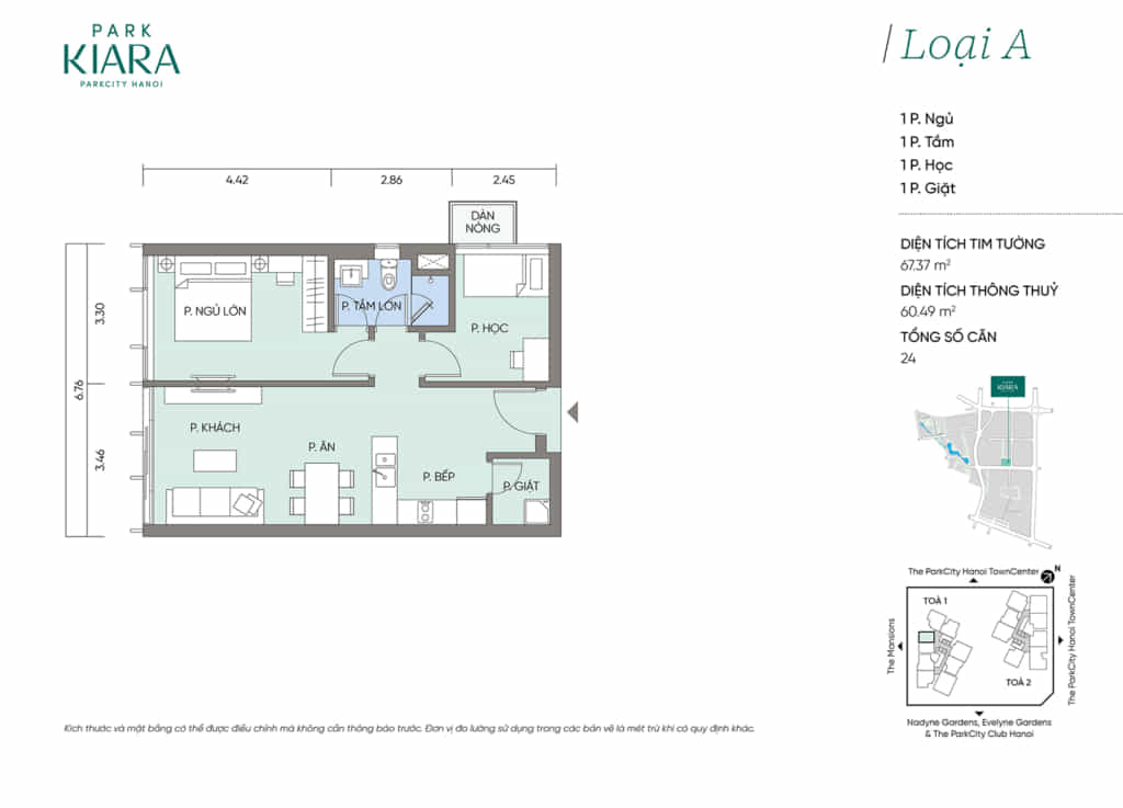 Căn hộ loại A, diện tích thông thủy 60,49m2 thiết kế 1 ngủ + 1 đa năng (có ở tòa T1)
