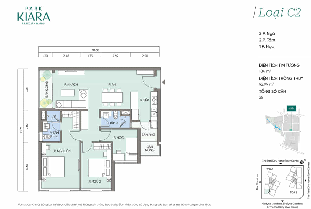 Căn hộ loại C2, diện tích thông thủy 90,99m2 thiết kế 2 ngủ + 1 đa năng