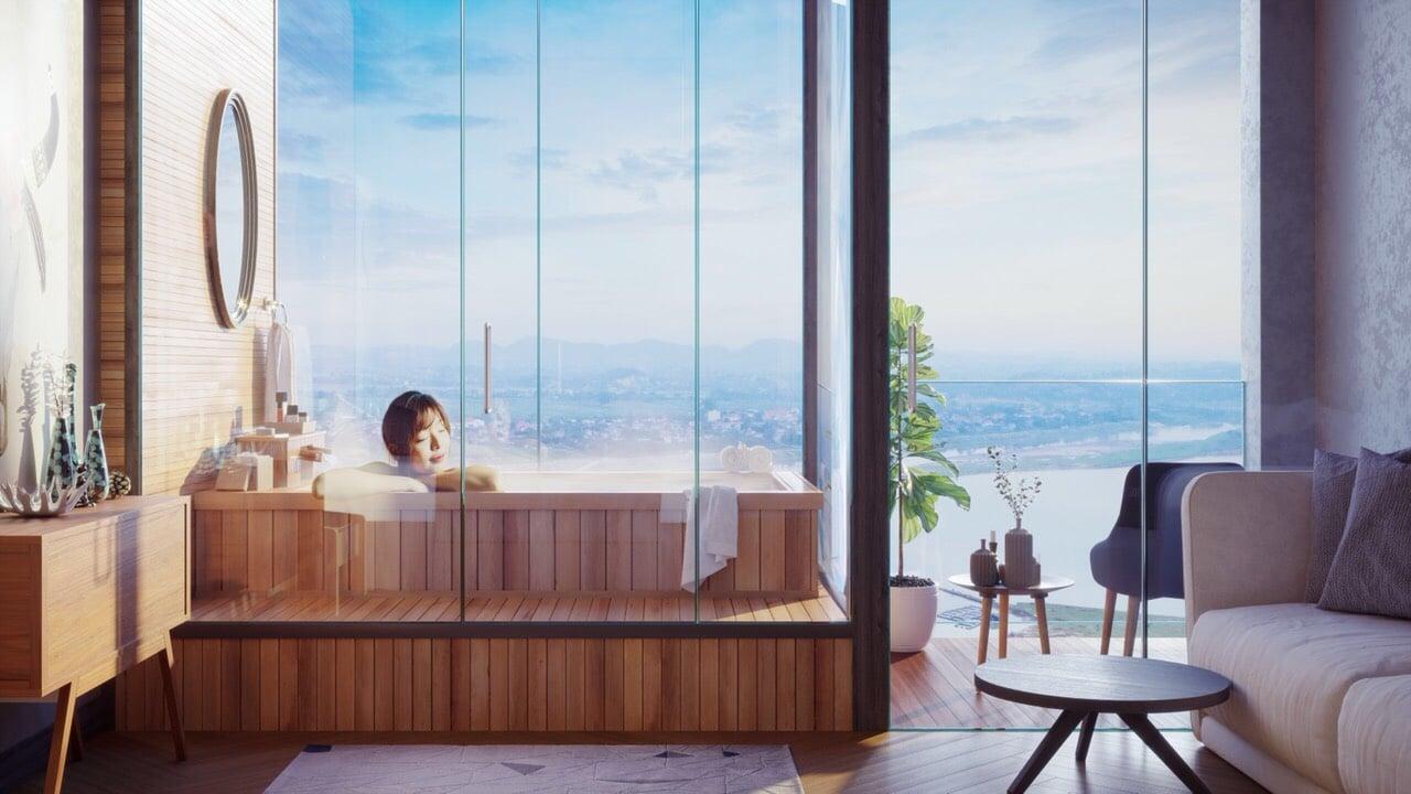 Bồn tắm khoáng nóng làm bằng gỗ trong căn hộ Condotel Wyndham Lynn Times Thanh Thủy