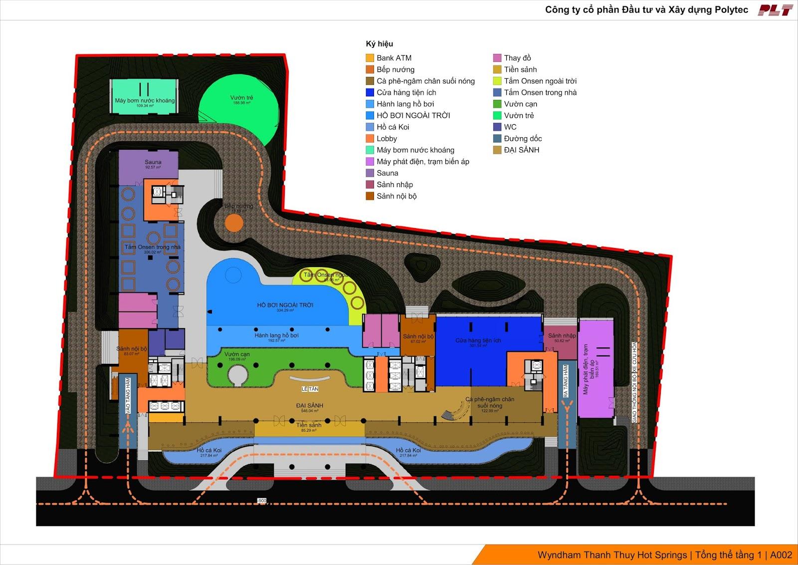Mặt bằng thiết kế tiện ích dịch vụ Condotel Wyndham Lynn Times Thanh Thủy
