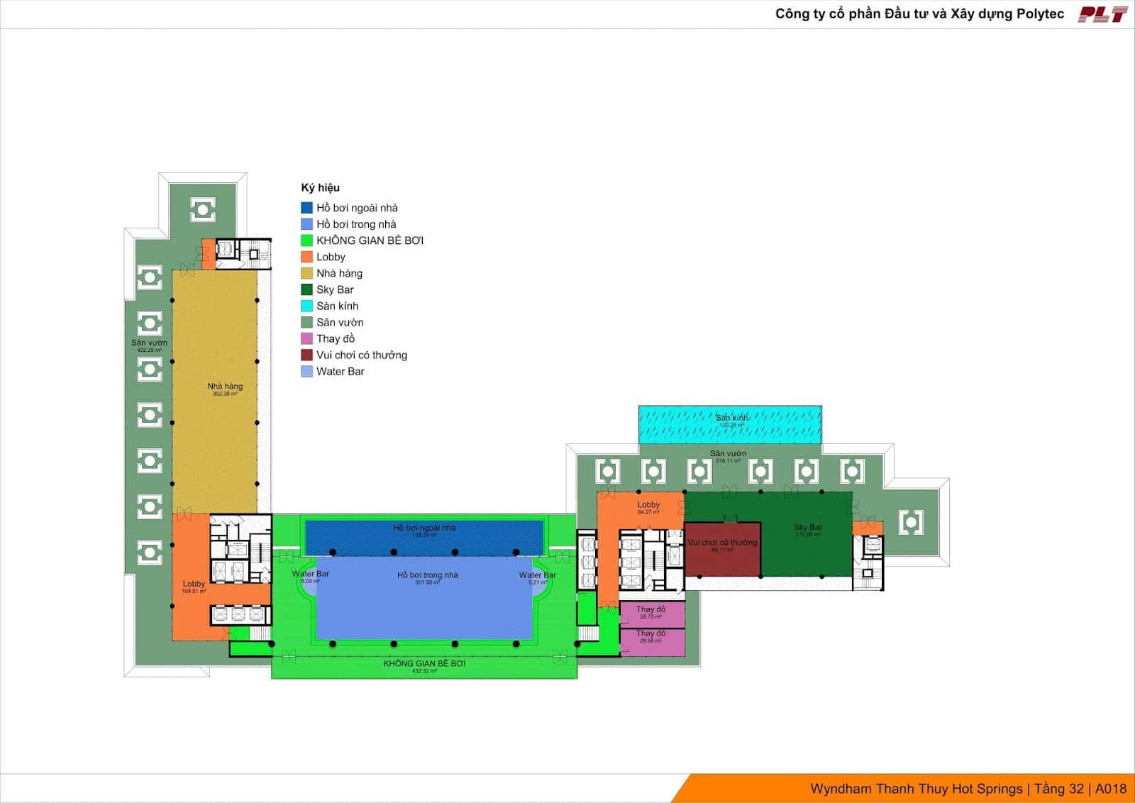 Tầng 32 Condotel Wyndham Lynn Times Thanh Thủy điểm nhấn là bể bơi vô cực và cầu kính