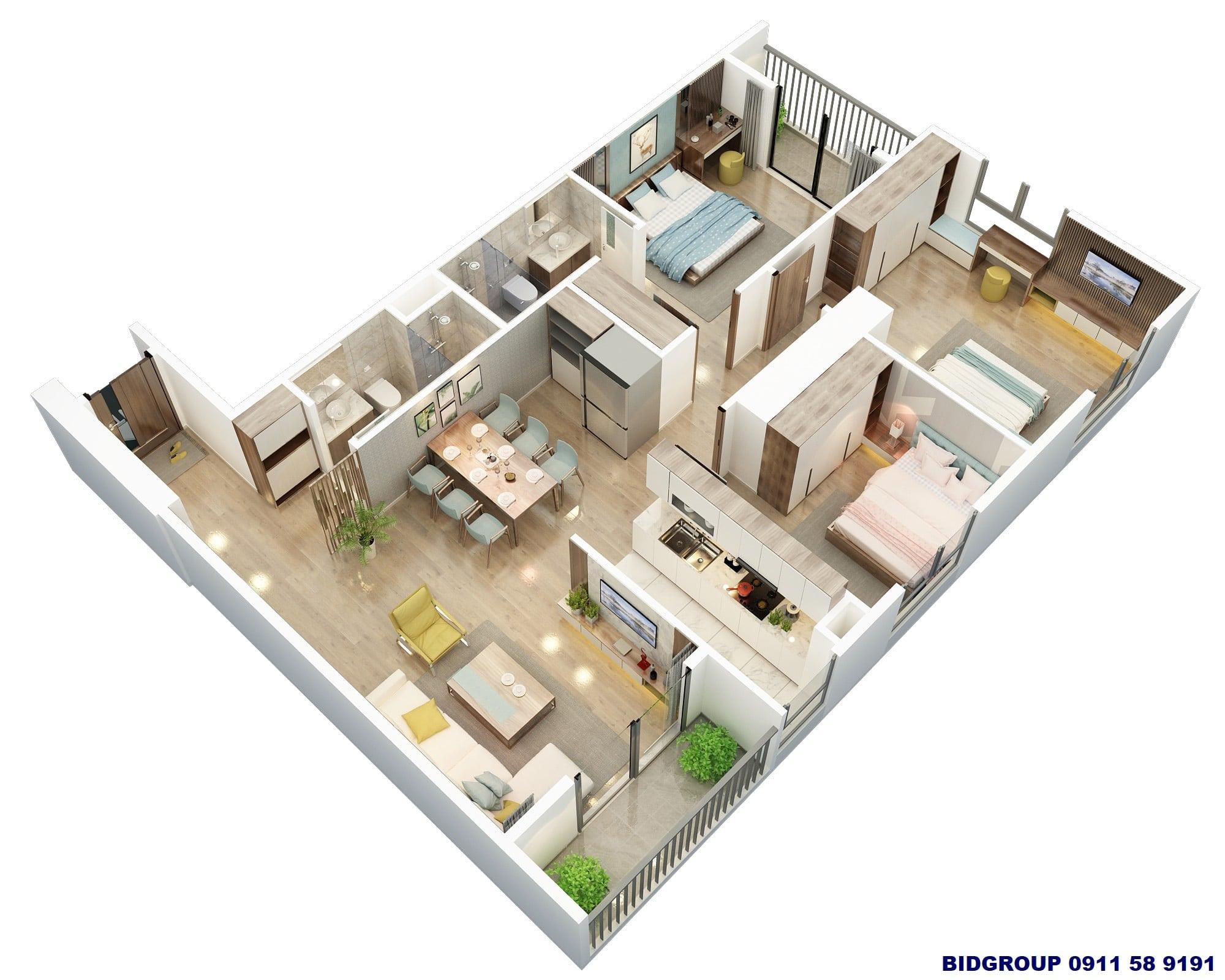 Thiết kế 3D căn hộ góc 3 phòng ngủ 101m2 Dự án BID Group Tố Hữu