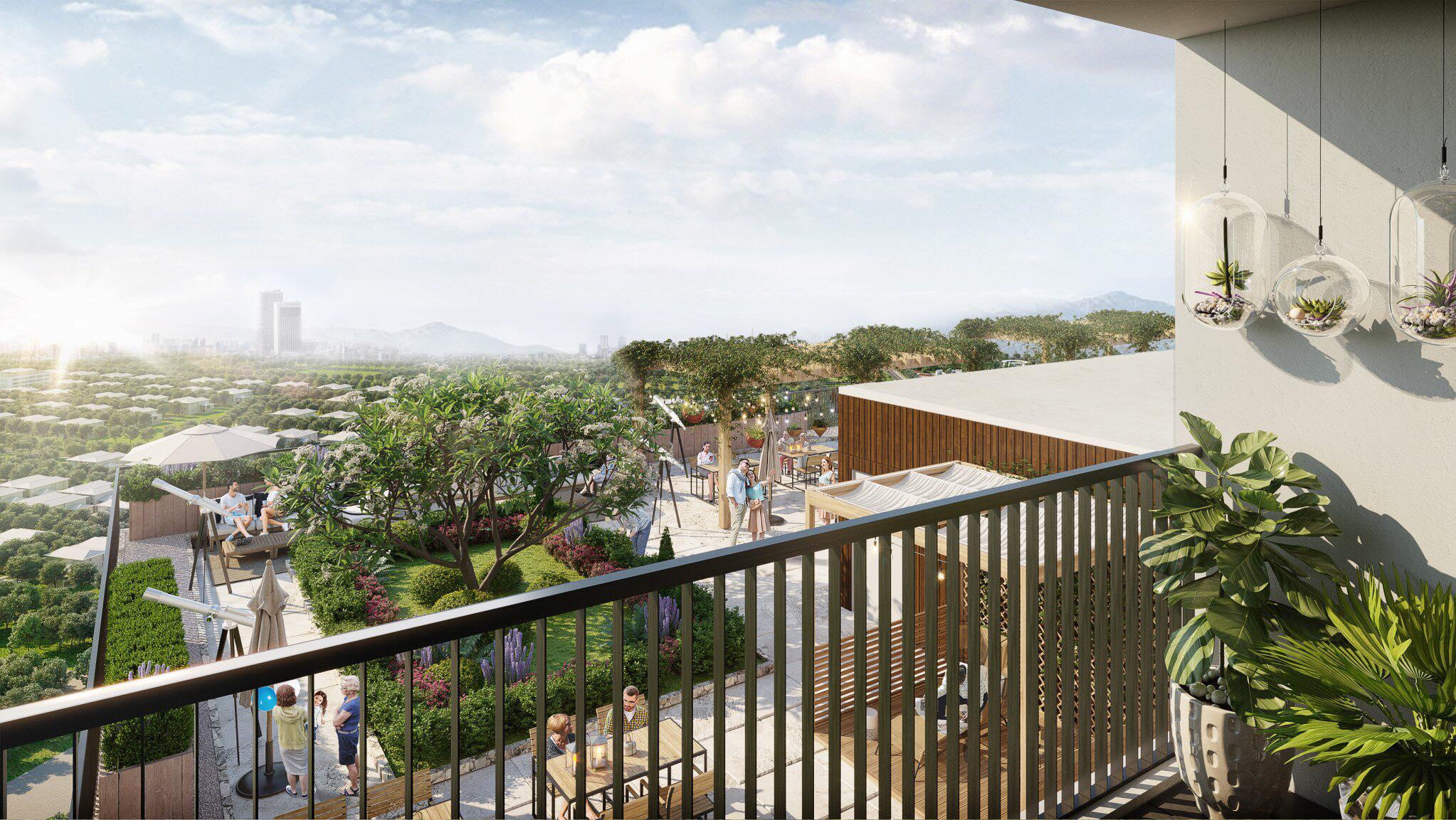 View vườn Thiên văn học từ ban công căn hộ Tòa A, tầng cao