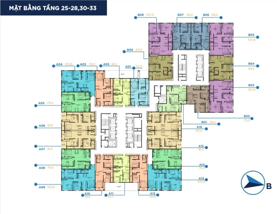 Mặt bằng điển hình tầng 25 đến 28 và 30 đến 33