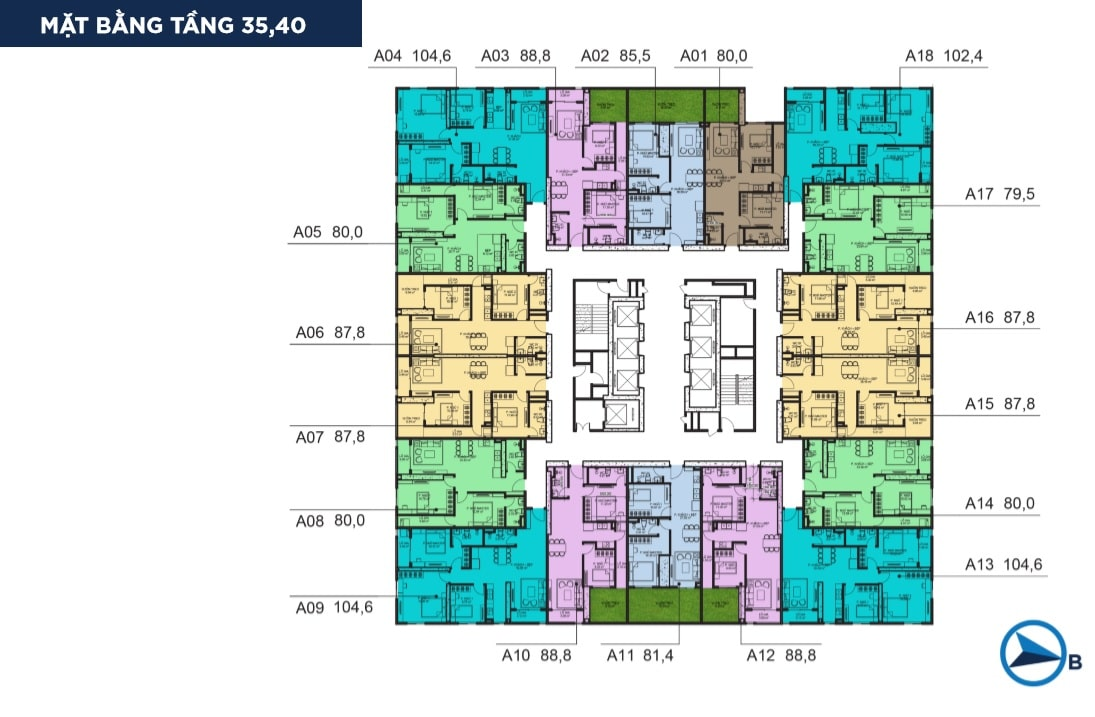 Mặt bằng điển hình tầng 35 và 40 Dự án Chung cư BID Residence Văn Khê