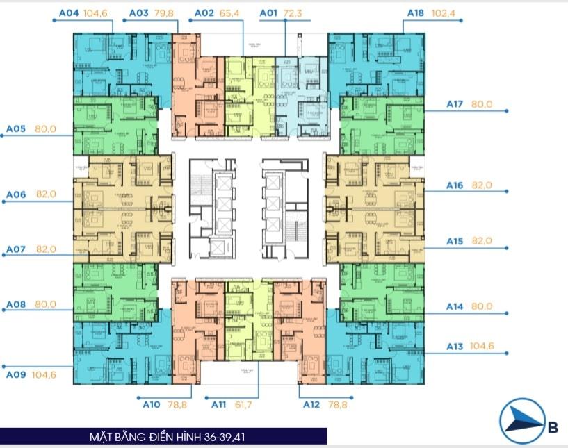 Mặt bằng điển hình tầng 36 đến 39 và 41 Dự án Chung cư BID Residence