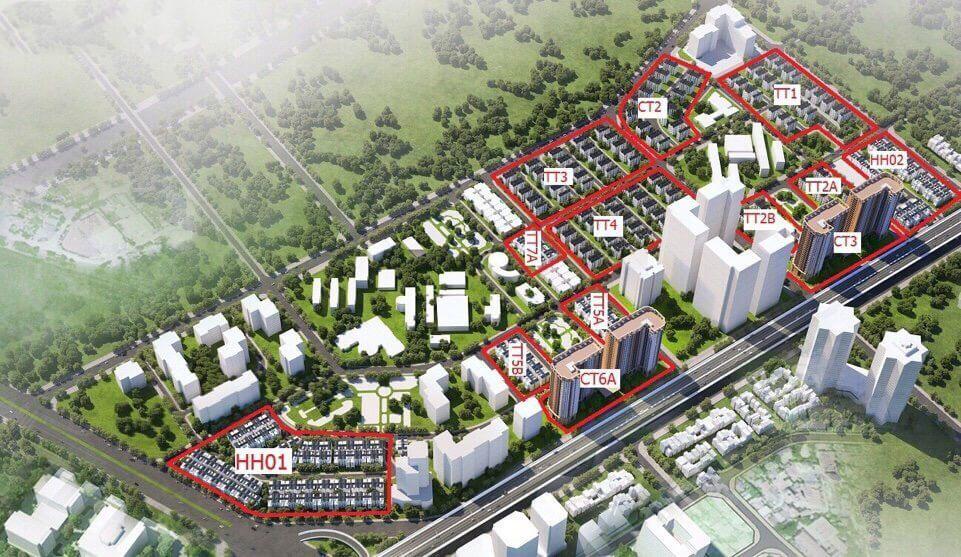 Phối cảnh Tổng thể Phân khu Athens dự án Tây Nam Kim Giang