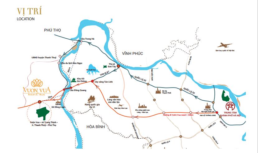 Vị trí dự án Vườn Vua Phú Thọ Villas and Resort Phú Thọ