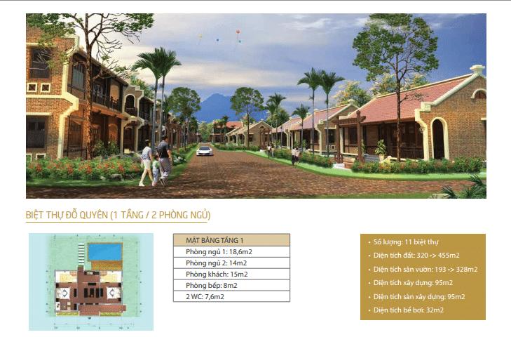 Biệt thự Đỗ Quyên 1 tầng 2 phòng ngủ dự án Vườn Vua Resort Phú Thọ