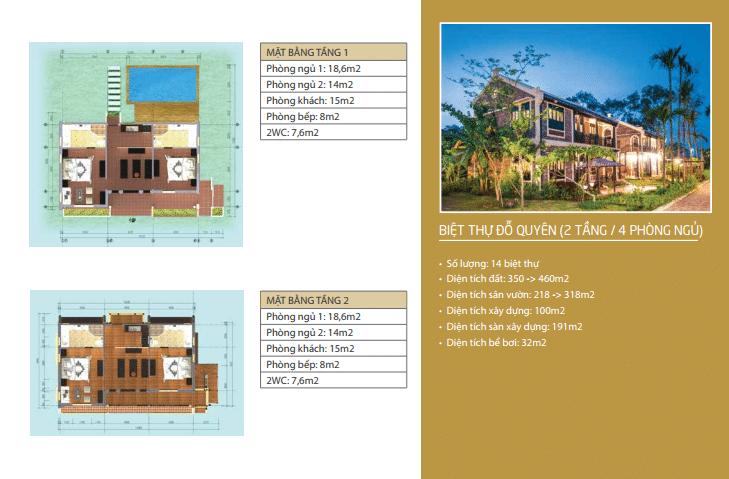 Biệt thự Đỗ Quyên 2 tầng 4 phòng ngủ dự án Vườn Vua Resort Phú Thọ