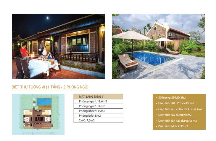 Biệt thự Tường Vi 1 tầng 2 phòng ngủ dự án Vườn Vua Resort Phú Thọ