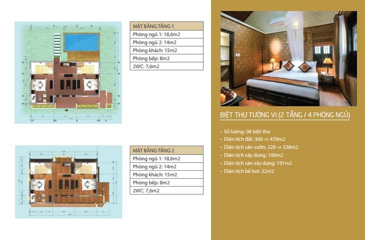 Biệt thự Tường Vi 2 tầng 4 phòng ngủ dự án Vườn Vua Resort Phú Thọ