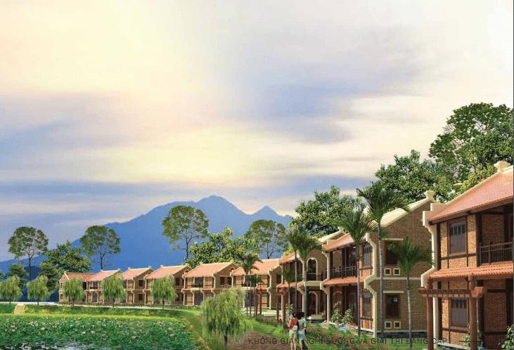 Phối cảnh biệt thự Tường Vi 2 tầng 4 phòng ngủ dự án Vườn Vua Resort Phú Thọ